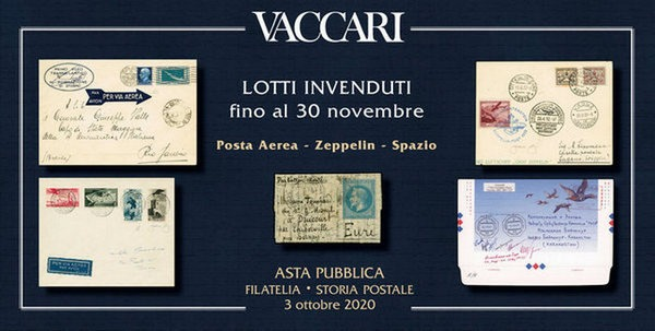 Air mail in the unsold lots of the Vaccari s.r.l. Auction at the basic price without commissions until November 30th!